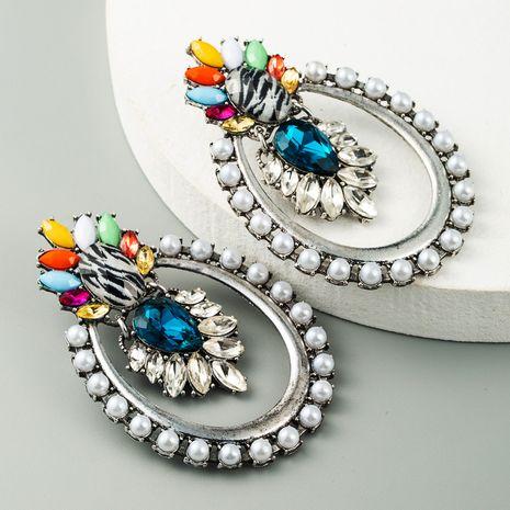 mode rétro alliage incrusté strass imitation perle exagéré nouvelles boucles d'oreilles en gros nihaojewelry NHLN231492's discount tags