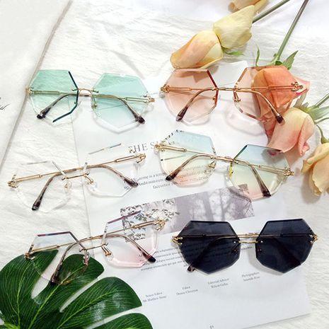 polygonal frameless trimmed sunglasses gradient ocean film color gradient sunglasses anti-ultraviolet wholesale nihaojewelry NHBA231432's discount tags