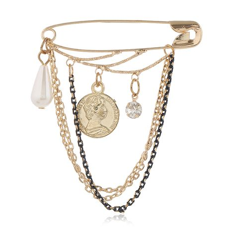 Moda simple moneda de metal multi-elemento pin broche al por mayor nihaojewelry NHSC231816's discount tags