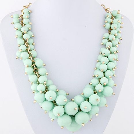 fashion metal wild candy grape string bead exaggerated necklace  wholesale nihaojewelry NHSC231809's discount tags