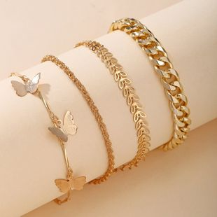 New Butterfly Chain Multilayer Anklet Set Simple Alloy Metal Anklet for women nihaojewelry NHPJ239212's discount tags