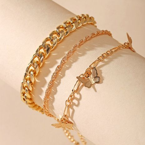 New Butterfly Chain Multilayer Simple Golden alloy Anklet Set 3 pack for women nihaojewelry NHPJ239214's discount tags