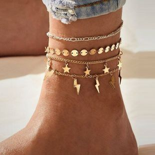 Lightning Star Sequin Four Piece Set Retro Simple Alloy Anklet set for women nihaojewelry NHPJ239215's discount tags