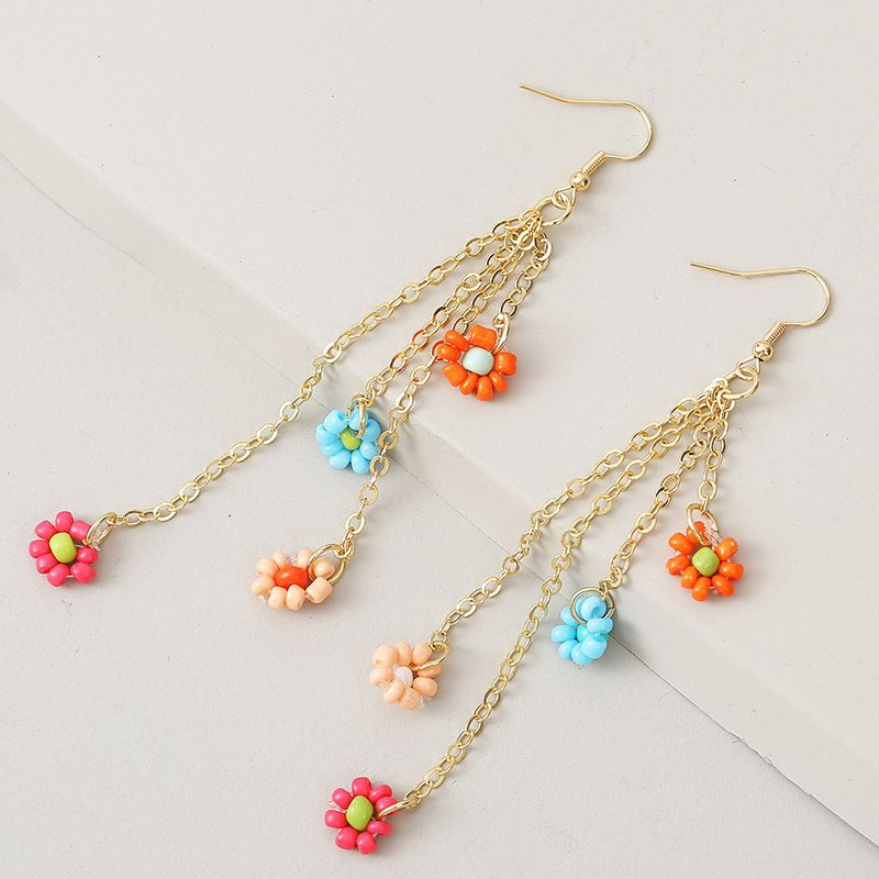 long hand-woven flower rice beads tassel earrings trend exaggerated earrings jewelry NHLA239216