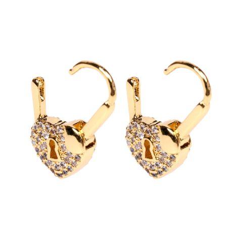 new heart-shaped lock sweet girl full diamond double-sided love lock earrings wholesale nihaojewelry NHPY239220's discount tags