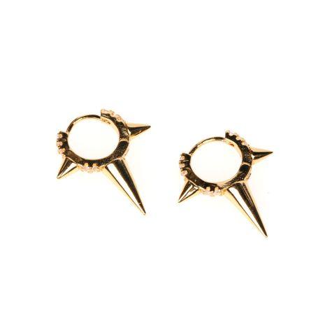 nouvelle tendance punk boucle d'oreille en cuivre plaqué or véritable perle ronde rivet boucles d'oreilles en gros nihaojewelry NHPY239222's discount tags