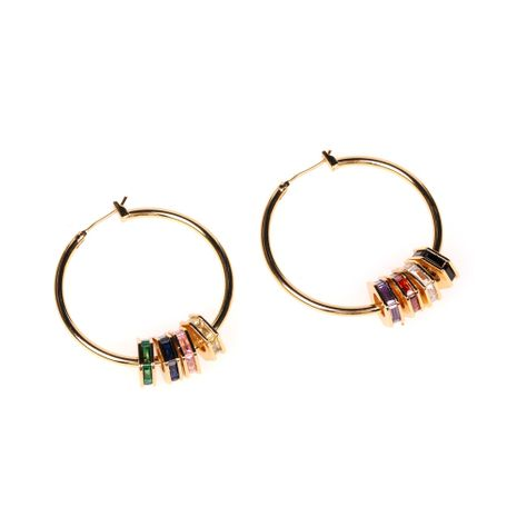 inlaid zircon hexagon hoop earrings fashion exaggerated colorful exquisite earrings wholesale nihaojewelry NHPY239223's discount tags