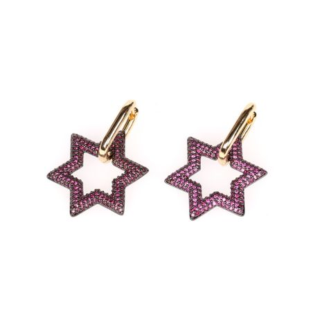 new hexagonal lock earrings exaggerated diamond star earring wholesale nihaojewelry NHPY239224's discount tags