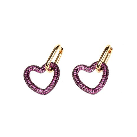 new trendy love lock earrings exaggerated diamond heart-shaped earrings wholesale nihaojewelry NHPY239225's discount tags
