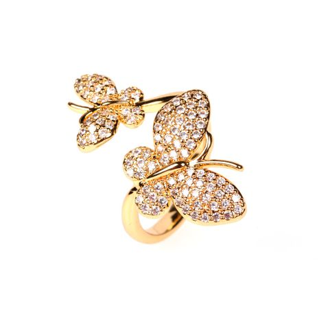 nouvelle aile double diamant volant papillon mode ouverture bague réglable en gros nihaojewelry NHPY239233's discount tags