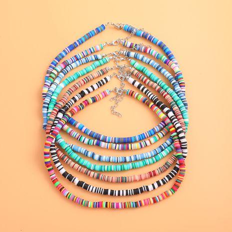 Costume de femmes de collier de disque en céramique souple bleu de style bohème en gros nihaojewelry NHLL239240's discount tags