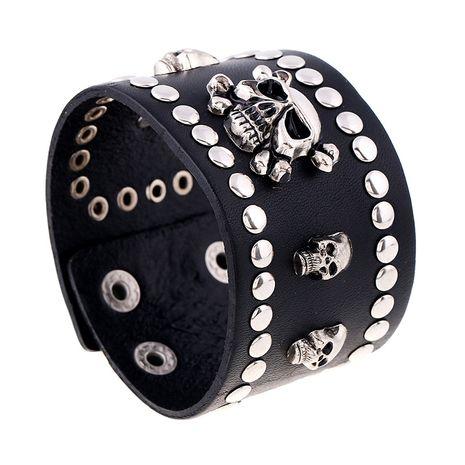 Punk rétro cuir de vachette large bracelet en cuir crâne en cuir pour homme nihaojewelry NHPK239242's discount tags