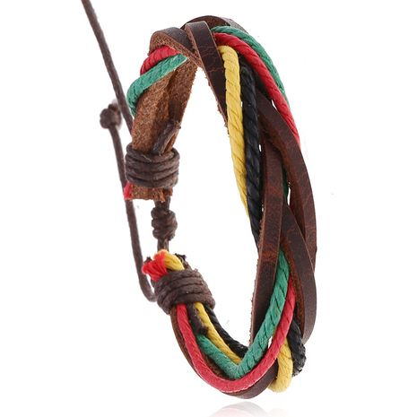 Korean simple and versatile women's leather hand-woven retro color couple jewelry bracelet nihaojewelry NHPK239247's discount tags