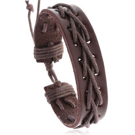 Vente chaude hommes rétro fil de cire de peau de vache nouveau bracelet tissé bijoux en cuir en gros nihaojewelry NHPK239248's discount tags