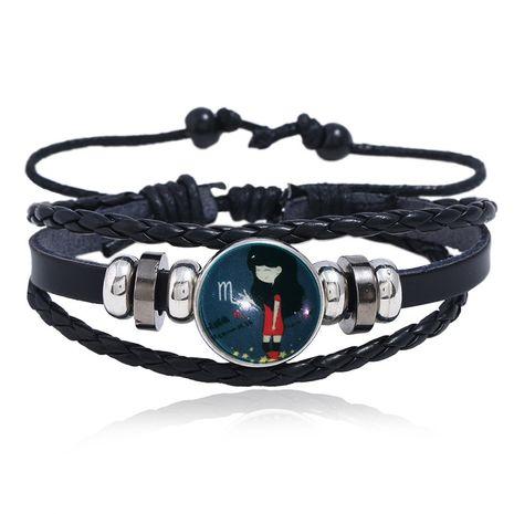 Bracelet en cuir de douze constellations de Corée tissé de pierres précieuses lumineuses nihaojewelry NHPK239249's discount tags