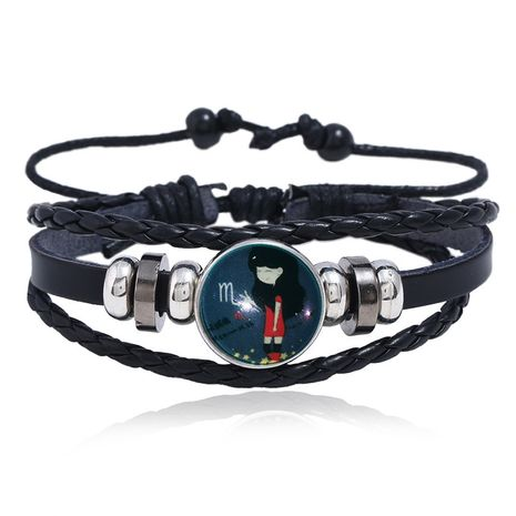 Luminous Gemstone Woven Korea Twelve Constellation Leather Bracelet nihaojewelry NHPK239249's discount tags
