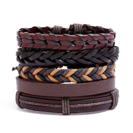 Venta caliente tejida retro pulsera de cuero de vaca diy para mujeres joyería al por mayor nihaojewelry NHPK239252's discount tags