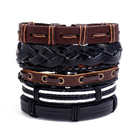 Bracelet tissé rétro e-commerce transfrontalier bracelet en cuir de vache bricolage bijoux en gros NHPK239253's discount tags