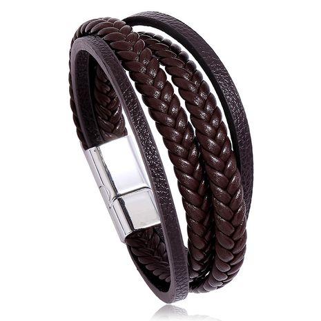 Nouveau bracelet en cuir à boucle magnétique en cuir pour hommes tissés simples multicouches de vente chaude nihaojewelry NHPK239254's discount tags