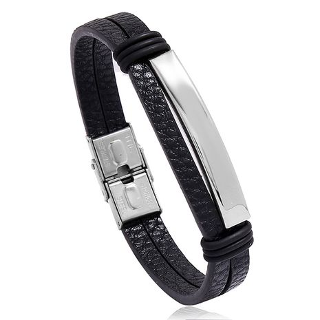 Bracelet en cuir lisse en acier inoxydable de style punk nouvelle tendance NHPK239256's discount tags