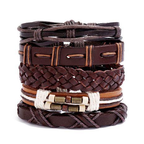 accessoires de mode hip-hop rétro tissé multicouche costume bricolage bracelet en cuir de vache NHPK239257's discount tags
