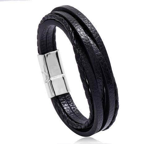 Accessoires de vente chaude multi-couche simple tissé nouvelle boucle magnétique bracelet en cuir pour hommes nihaojewelry NHPK239258's discount tags