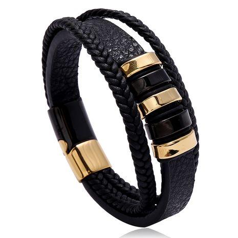 Bracelet simple en cuir pour homme avec boucle magnétique en acier inoxydable bicolore NHPK239259's discount tags