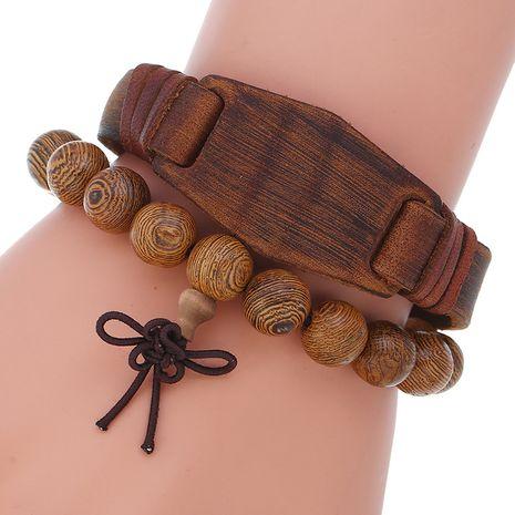 perle en bois mode rétro peau de vache bricolage combo ensemble bracelet en gros nihaojewelry NHPK239261's discount tags