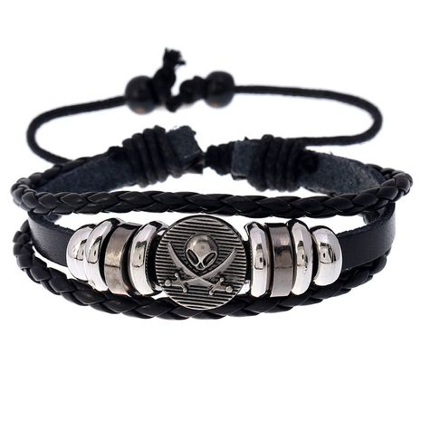 Hot-selling retro beaded skull cowhide simple and versatile adjustable men and women leather bracelet  NHPK239262's discount tags