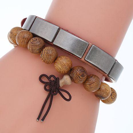 Punky retro cuero envejecido simple combinación diy conjunto pulsera de cuentas de madera NHPK239264's discount tags