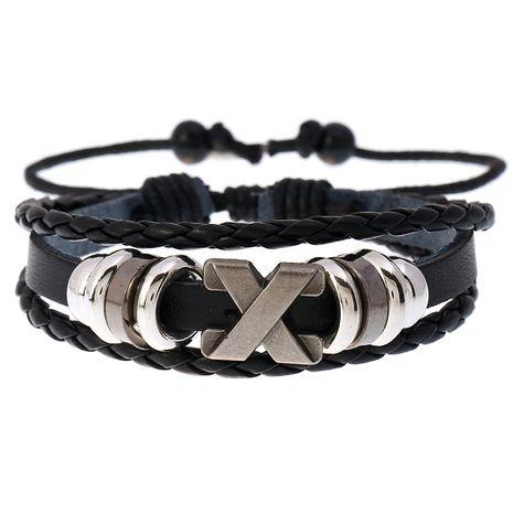 Bracelet en cuir réglable de bijoux d'étudiant tissés en cuir de vachette perlé rétro nihaojewelry NHPK239265's discount tags