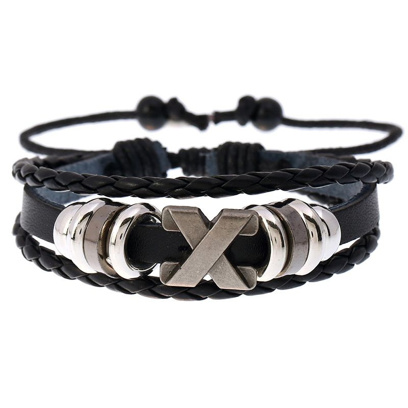 Retro beaded cowhide woven student jewelry adjustable leather bracelet nihaojewelry NHPK239265