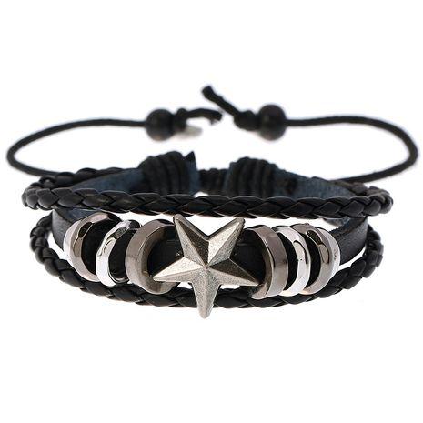 Pulsera de cuero con cuentas en forma de estrella tejida estudiante punk pulsera de cuero ajustable al por mayor nihaojewelry NHPK239266's discount tags