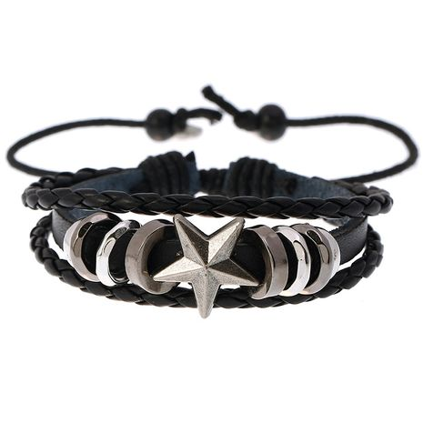 Star-shaped beaded leather bracelet woven student punk adjustable leather bracelet wholesale nihaojewelry NHPK239266's discount tags