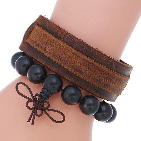 mode en bois rétro cuir de vache bricolage combo ensemble bracelet de perles en gros nihaojewelry NHPK239268's discount tags