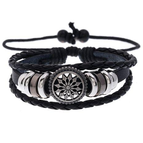 Vente chaude de tournesol perlé en cuir de vachette tissé étudiant bijoux bracelet en cuir réglable nihaojewelry NHPK239269's discount tags