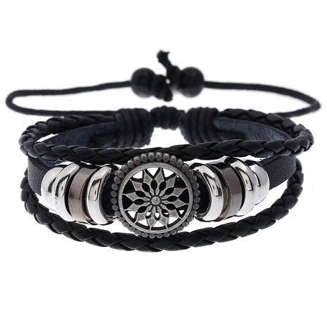 Hot-selling sunflower beaded cowhide woven student jewelry adjustable leather bracelet nihaojewelry NHPK239269's discount tags