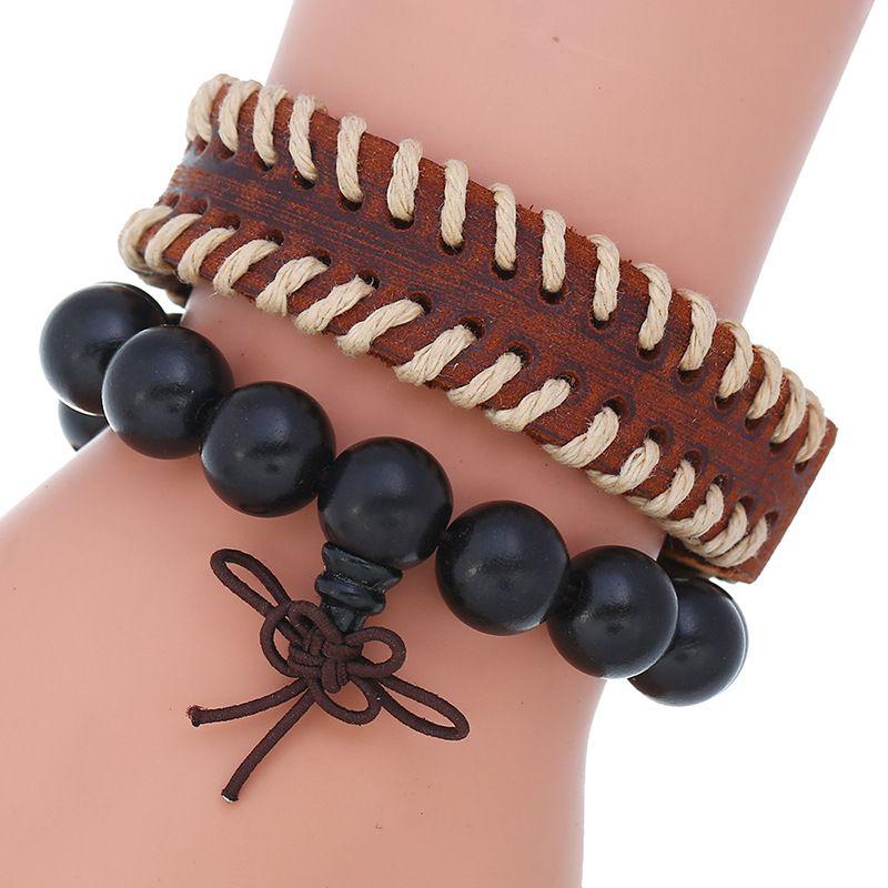 Punk retro distressed leather simple diy combination set wooden bead bracelet men's jewelry nihaojewelry NHPK239270