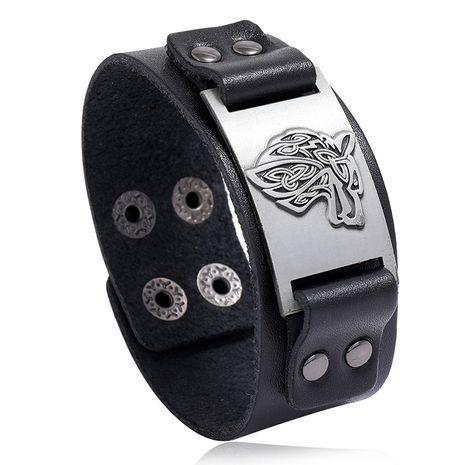 Nouveau bracelet en cuir de vachette tête de loup hommes bijoux vente chaude nihaojewelry NHPK239271's discount tags