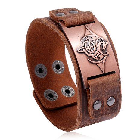 Bracelet en cuir de vachette rétro pour hommes simples, bijoux de locomotive de roche nihaojewelry NHPK239272's discount tags