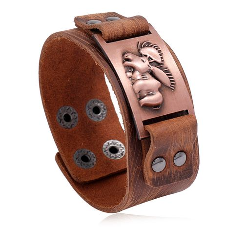 Punk men's leather retro wide leather bracelet hot sale nihaojewelry  NHPK239273's discount tags