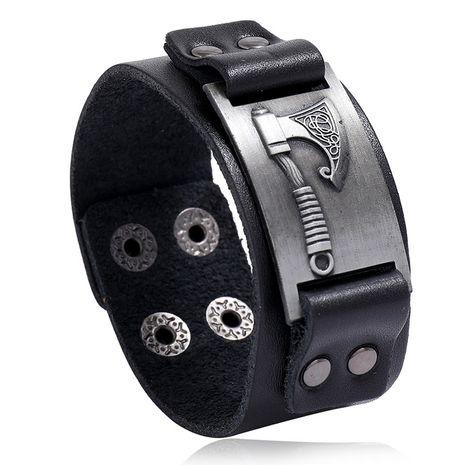Viking Tomahawk Leather Retro Simple Punk Men's Locomotive Wide Leather Bracelet wholesale nihaojewelry NHPK239274's discount tags
