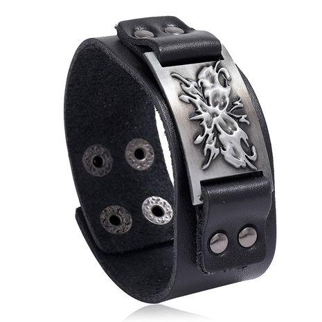 Retro woven punk cowhide hot-selling  alloy butterfly men's wide leather bracelet nihaojewelry NHPK239277's discount tags