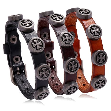 New retro men's leather punk style cross bracelet for women wholesale nihaojewelry NHPK239278's discount tags