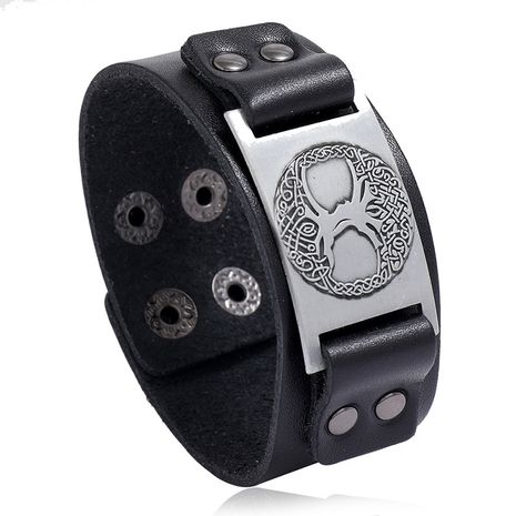 Viking Totem Lucky Tree Leather Retro Woven Punk Men's Wide Leather Bracelet nihaojewelry NHPK239279's discount tags
