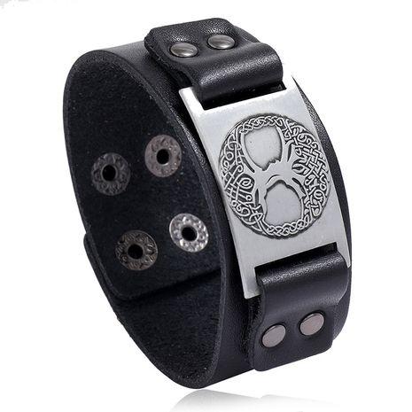 Viking Totem Lucky Tree en cuir rétro tissé Punk hommes large bracelet en cuir nihaojewelry NHPK239279's discount tags
