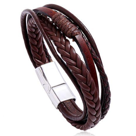 Bracelet en cuir à boucle magnétique en alliage multicouche simple en cuir tissé à la main pour hommes rétro nihaojewelry NHPK239280's discount tags
