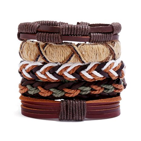 Nouveaux accessoires rétro tissé bricolage combinaison de cinq pièces bracelet en cuir de vache pour hommes nihaojewelry NHPK239281's discount tags