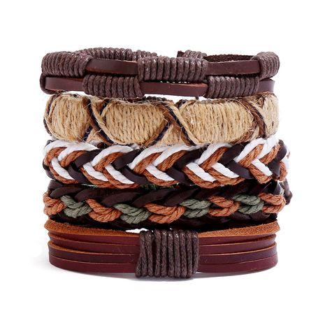 New accessories retro woven DIY five-piece combination men's cowhide bracelet nihaojewelry NHPK239281's discount tags