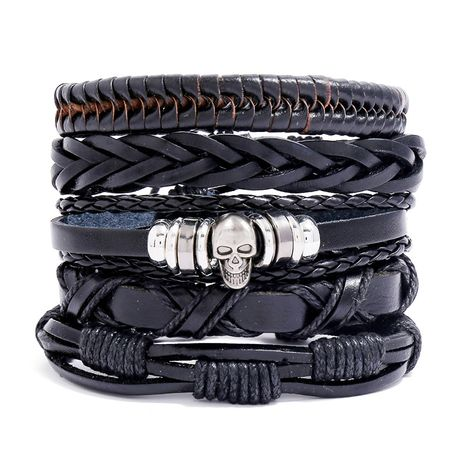 Retro woven cowhide diy set men's leather bracelet hot sale wholesale nihaojewelry NHPK239282's discount tags